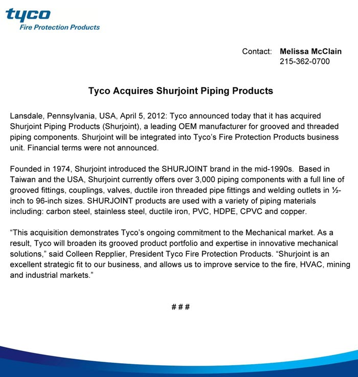 Tyco Press Release